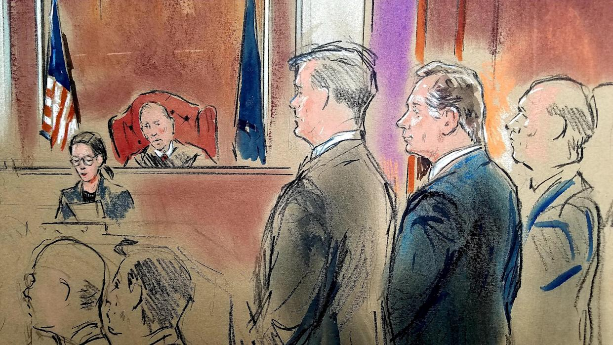 """<span class=""""s1"""">Paul Manafort, in the dark suit, stands before Judge T.S. Ellis as he is found guilty of eight charges of bank and tax fraud in Alexandria, Va., on Aug. 21. (Sketch: Bill Hennessy via Reuters)</span>"""