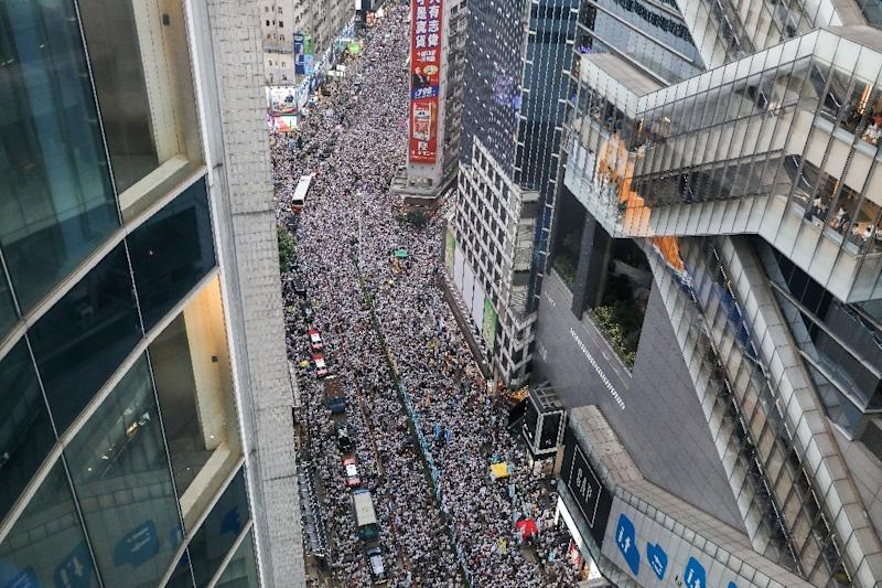 The Hong Kong protesters called for the city's pro-Beijing leaders to scrap a proposal to allow extraditions to the mainland (AFP Photo/DALE DE LA REY)