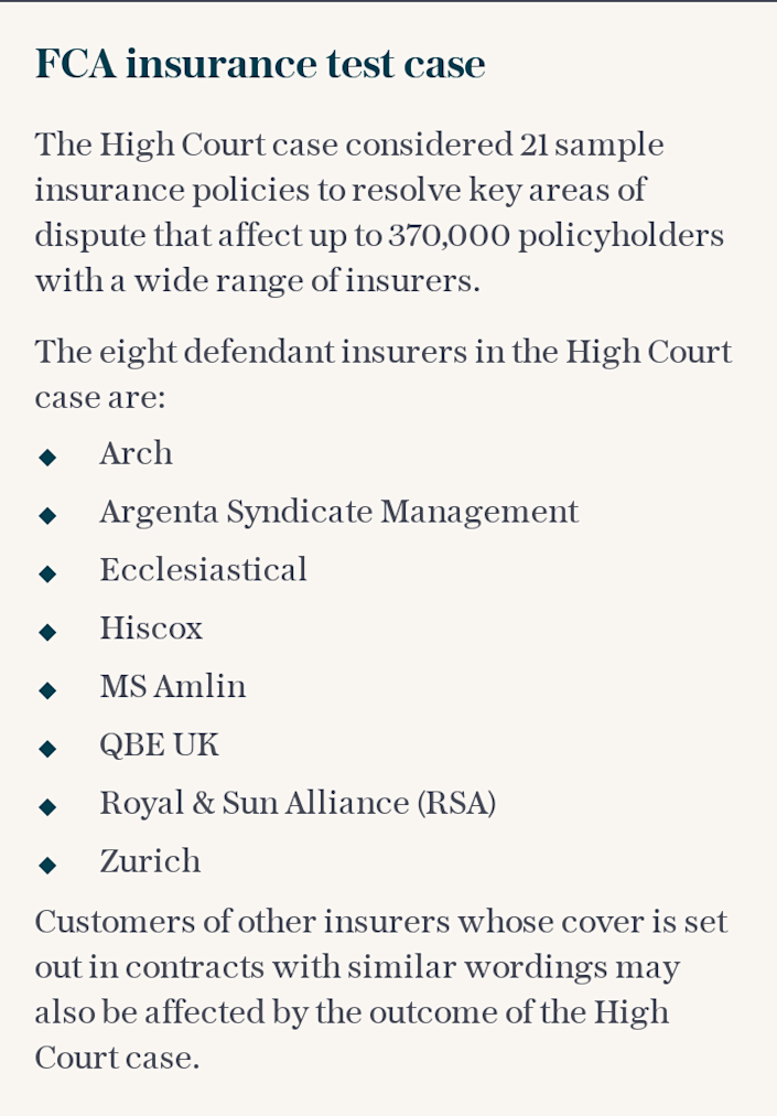 FCA insurance test case
