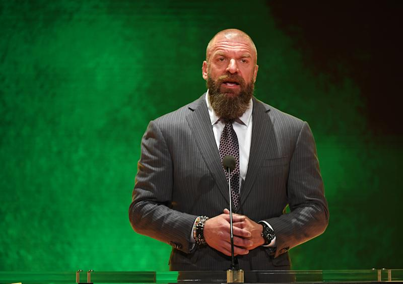"LAS VEGAS, NEVADA - OCTOBER 11: WWE Executive Vice President of Talent, Live Events and Creative Paul ""Triple H"" Levesque speaks at a WWE news conference at T-Mobile Arena on October 11, 2019 in Las Vegas, Nevada. It was announced that WWE wrestler Braun Strowman will face heavyweight boxer Tyson Fury and WWE champion Brock Lesnar will take on former UFC heavyweight champion Cain Velasquez at the WWE's Crown Jewel event at Fahd International Stadium in Riyadh, Saudi Arabia on October 31. (Photo by Ethan Miller/Getty Images)"