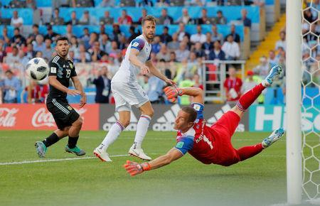 Soccer Football - World Cup - Group D - Argentina vs Iceland - Spartak Stadium, Moscow, Russia - June 16, 2018 Iceland's Hannes Por Halldorsson in action REUTERS/Maxim Shemetov