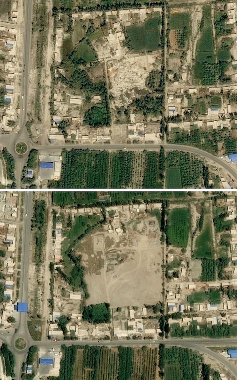 a picture from August 29, 2017 (top) showing a cemetery (C) and the same view on July 5, 2019 with no sign of the facility in Xayar, Xinjiang province - Credit: AFP
