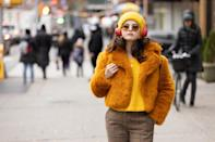"""<ul> <li><strong>What to wear: </strong>The <a href=""""https://www.popsugar.com/entertainment/only-murders-in-building-series-trailer-48329956"""" class=""""link rapid-noclick-resp"""" rel=""""nofollow noopener"""" target=""""_blank"""" data-ylk=""""slk:trailer of Hulu's Only Murders in the Building series"""">trailer of Hulu's <strong>Only Murders in the Building</strong> series</a> showcases <a class=""""link rapid-noclick-resp"""" href=""""https://www.popsugar.com/Selena-Gomez"""" rel=""""nofollow noopener"""" target=""""_blank"""" data-ylk=""""slk:Selena Gomez"""">Selena Gomez</a>'s character, Mabel, in this '70s-inspired outfit - and we're obsessed! To achieve Mabel's mood-boosting style, try out plaid trousers, a mustard sweater, and a very cute, cropped, furry coat. Oh, and don't forget to accessorize with Mabel's matching knit beanie, round sunglasses, gold hoop earrings, and brown combat boots.</li> </ul>"""