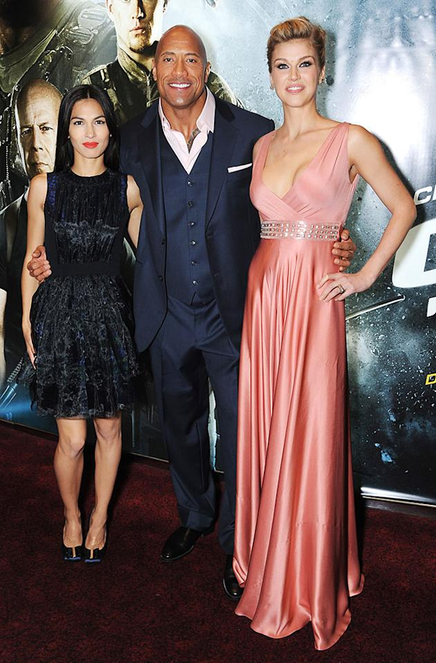 Elodie Yung, Dwayne Johnson and Adrianne Palicki attend the UK premiere of 'G.I. Joe: Retaliation' at The Empire Leicester Square on March 18, 2013 in London, England.