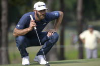 FILE - Dustin Johnson lines up a putt on the sixth green during the final round of the Valspar Championship golf tournament in Palm Harbor, Fla., in this Sunday, May 2, 2021, file photo. Johnson is among several top players who have not played well going into the PGA Championship next week at Kiawah Island. (AP Photo/Phelan M. Ebenhack, File)