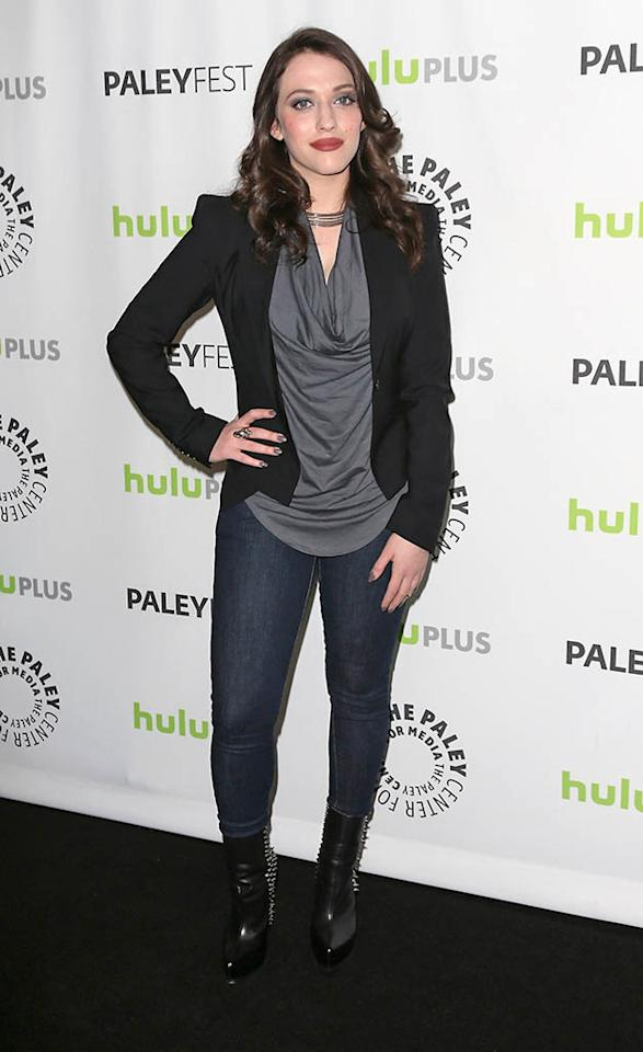 "Kat Dennings attends the 30th Annual PaleyFest featuring the cast of ""2 Broke Girls"" at the Saban Theatre on March 14, 2013 in Beverly Hills, California."