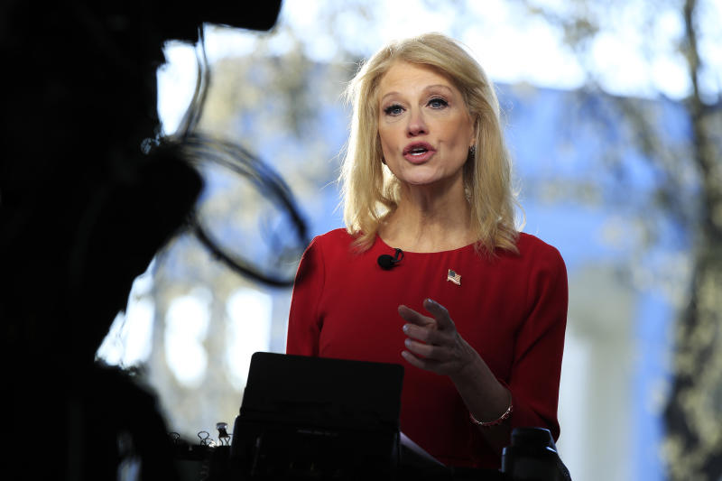 Kellyanne Conway is interviewed on television outside the West Wing of the White House in Washington, D.C., in March. (AP Photo/Manuel Balce Ceneta)