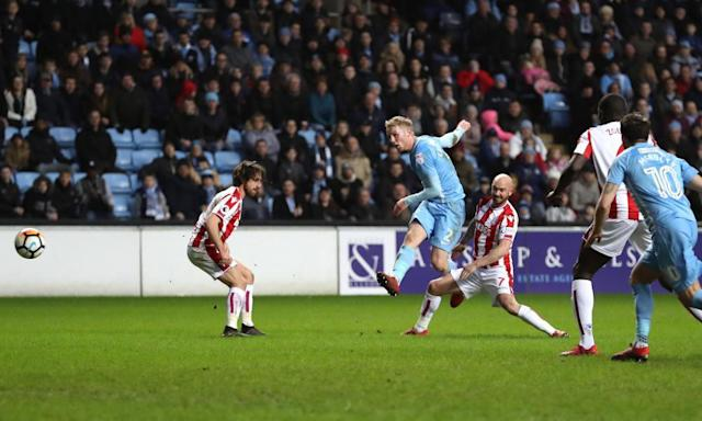 Coventry's Jack Grimmer lets fly to finish off Mark Hughes's Stoke reign