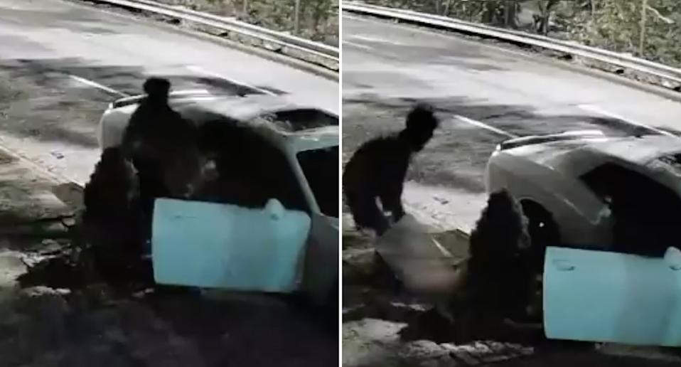 Goey Charles, 29, seen dragging the body of Vanessa Pierre, 29, out of a car and onto a footpath at the Horace Harding Expressway.