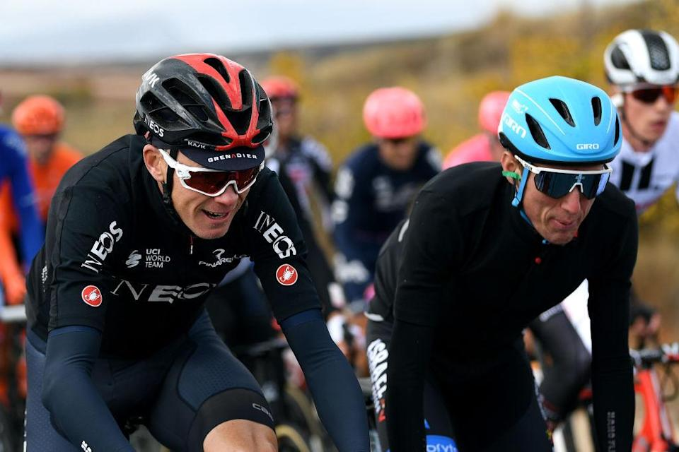 EJEADELOSCABALLEROS SPAIN  OCTOBER 23 Christopher Froome of The United Kingdom and Team INEOS  Grenadiers  Daniel Martin of Ireland and Team Israel StartUp Nation Green Points Jersey  during the 75th Tour of Spain 2020 Stage 4 a 1917km stage from Garray  Numancia to Ejea de los Caballeros  lavuelta  LaVuelta20  La Vuelta  on October 23 2020 in Ejea de los Caballeros Spain Photo by David RamosGetty Images