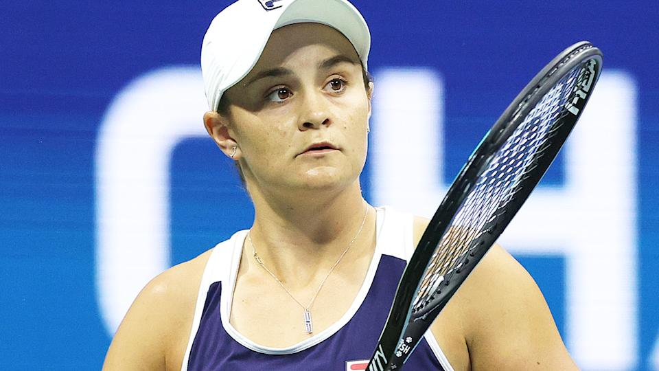 Ash Barty, pictured here during her loss to Shelby Rogers at the US Open.