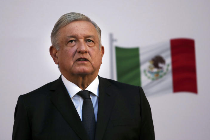 """FILE - In this Dec. 1, 2020 file photo, Mexican President Andrés Manuel López Obrador attends the commemoration of his second anniversary in office at the National Palace in Mexico City. One day after Mexico's Attorney General's Office announced it was dropping the drug trafficking case against its former defense secretary, López Obrador said Friday, Jan. 15, 2020 that the U.S. Drug Enforcement Administration had """"fabricated"""" the accusations against retired Gen. Salvador Cienfuegos. (AP Photo/Marco Ugarte, File)"""