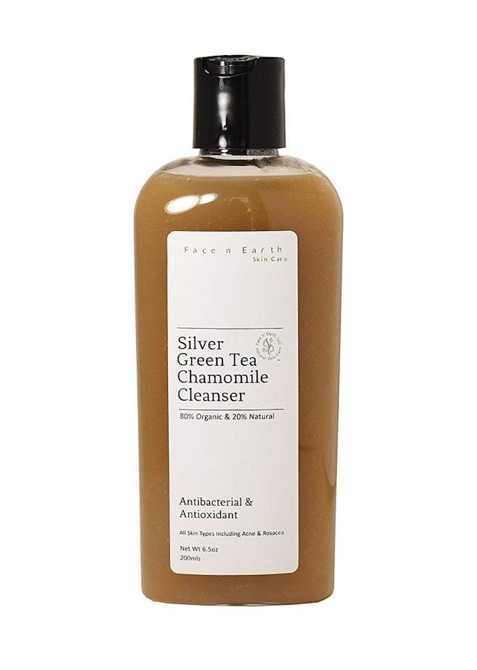 """This vegan-friendly facial cleanser is formulated with antibacterial silver as well as soothing chamomile to prevent irritation and green tea extract to deliver a burst of anti-aging antioxidants.  Face n' Earth colloidal silver cleanser, $17.99 at [pmc-store-product url="""""""" asin=""""B00JVYVIPC""""]Amazon[/pmc-store-product]"""