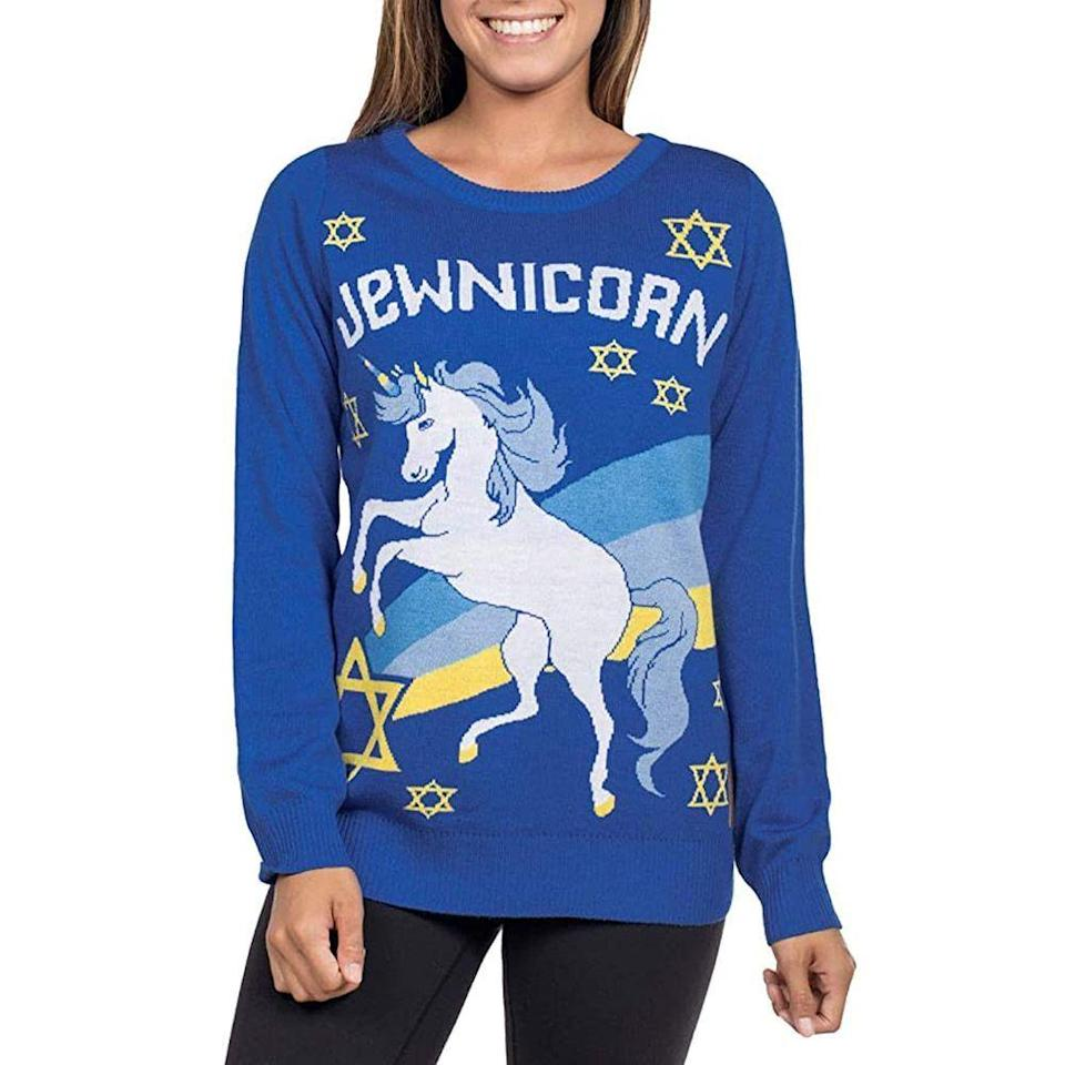 "<p><strong>Tipsy Elves</strong></p><p>amazon.com</p><p><strong>$39.95</strong></p><p><a href=""https://www.amazon.com/dp/B07HJJ7C82?tag=syn-yahoo-20&ascsubtag=%5Bartid%7C10063.g.34858754%5Bsrc%7Cyahoo-us"" rel=""nofollow noopener"" target=""_blank"" data-ylk=""slk:Shop Now"" class=""link rapid-noclick-resp"">Shop Now</a></p><p><a href=""https://www.bestproducts.com/lifestyle/g3275/ugly-hanukkah-sweaters/"" rel=""nofollow noopener"" target=""_blank"" data-ylk=""slk:This hilarious ugly Hanukkah sweater"" class=""link rapid-noclick-resp"">This hilarious ugly Hanukkah sweater</a> will be a hit at their next holiday party. Bright colors add to its funky feel, while a menorah and several speckled Stars of David keep it festive.</p><p>It's also available in <a href=""https://www.amazon.com/Mens-Funny-Hanukkah-Sweater-Unicorn/dp/B07HJJLV9Z/?tag=syn-yahoo-20&ascsubtag=%5Bartid%7C10063.g.34858754%5Bsrc%7Cyahoo-us"" rel=""nofollow noopener"" target=""_blank"" data-ylk=""slk:men's sizes"" class=""link rapid-noclick-resp"">men's sizes</a>.</p>"