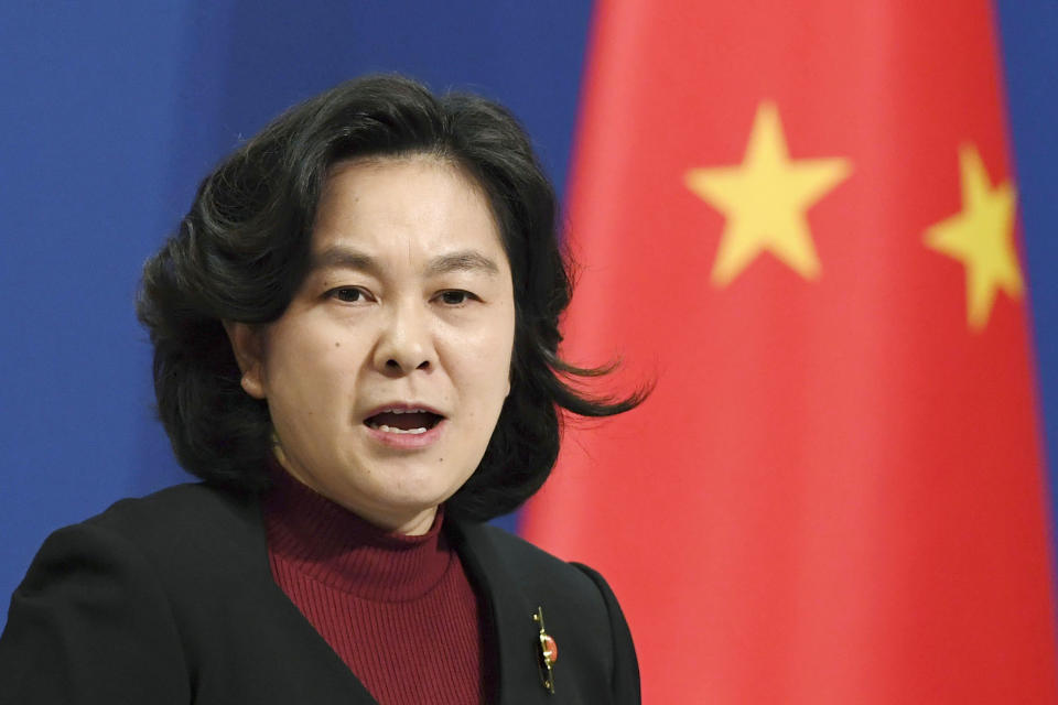 Chinese Foreign Ministry spokeswoman Hua Chunying giving an address.