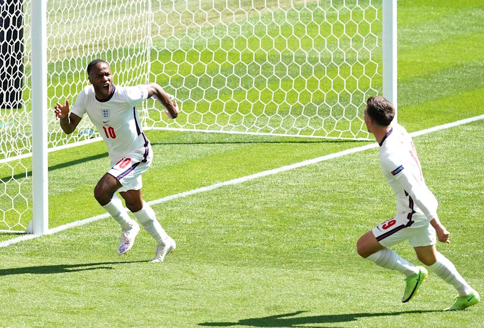 Raheem Sterling, left, scored England's winner with his first tournament goal (PA Wire)