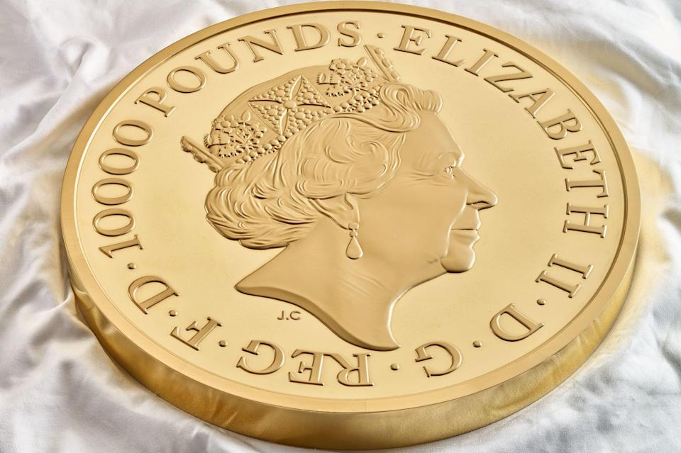 The coin has a denomination of £10,000.PA