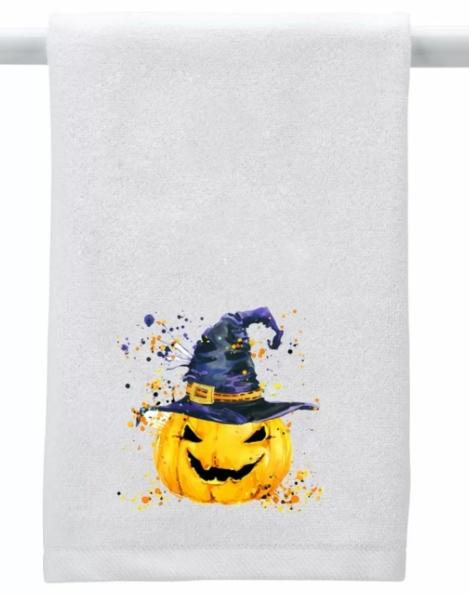 Valles Pumpkin with Hat 100% Cotton Hand Towel (Image via Wayfair)