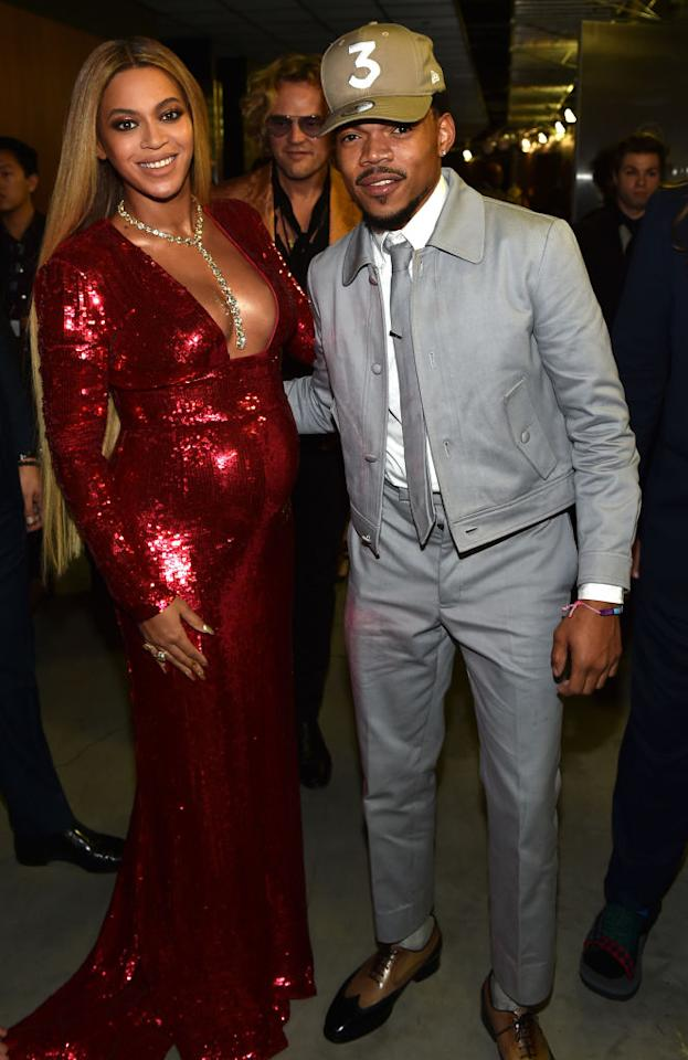 <p>Chance the Rapper had a big night too (he earned Best New Artist accolades), but he always has time for the woman he calls Auntie Yonce. (Photo: Getty Images) </p>