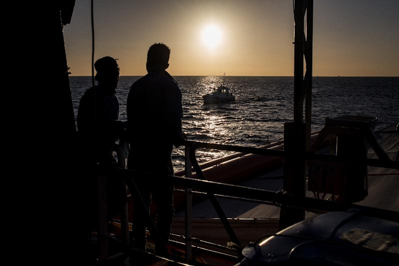 Rescued migrants aboard the Sea Watch 3 in late January off southeastern Sicily (AFP Photo/FEDERICO SCOPPA)