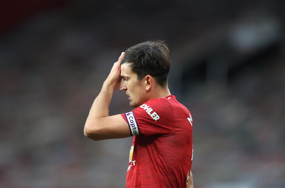 Manchester United's Harry Maguire reacts after Tottenham Hotspur's fifth goal of the game during the Premier League match at Old Trafford, Manchester. (Photo by Carl Recine/PA Images via Getty Images)