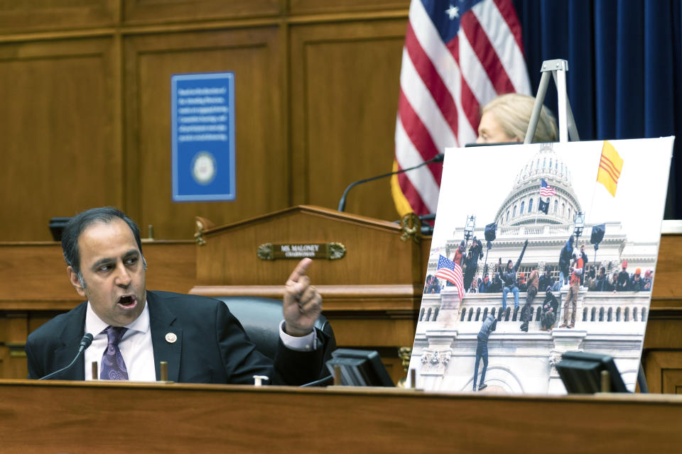 Rep. Raja Krishnamoorthi, D-Ill, questions Christopher Miller, former acting secretary of the Department of Defense, testifying virtually, during a House Committee on Oversight and Reform hearing on the Capitol breach on Capitol Hill, Wednesday, May 12, 2021, in Washington. (AP Photo/Manuel Balce Ceneta)