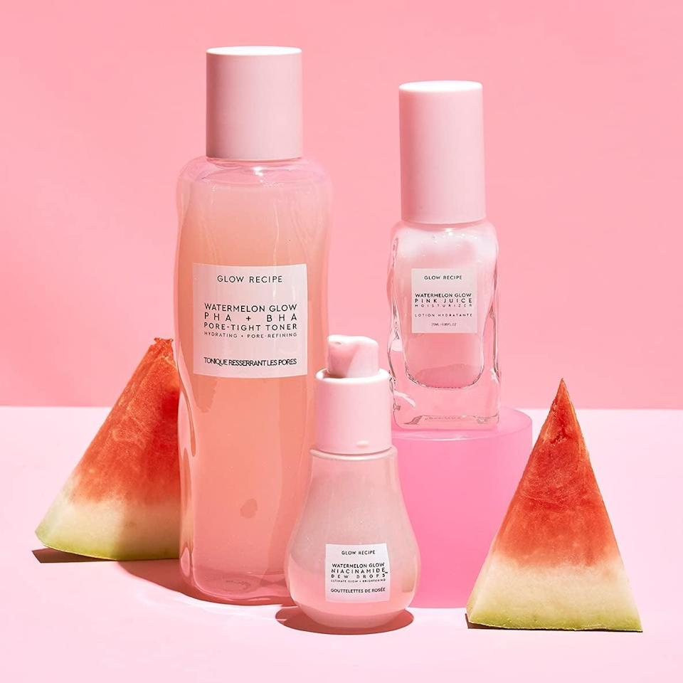 <p>If you're shopping for someone who loves skin care, get them this nourishing <span>Glow Recipe Watermelon Glow Up 3-Piece Gift Set </span> ($54). It contains the BHA + PHA Pore-Tight Facial Toner with Hyaluronic Acid, the Niacinamide Dew Drops Serum, and the Pink Juice Oil-Free Facial Moisturizer.</p>