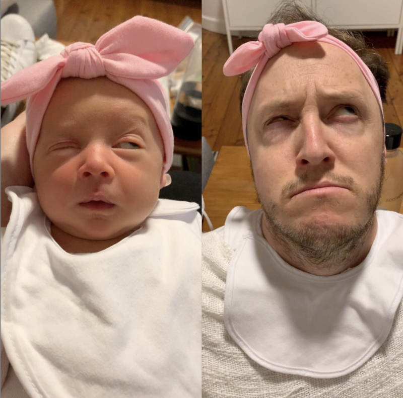 Josh Hawkins, an Australian dad and comedian, is going viral for imitating his newborn daughter. (Photo: Instagram/Hi Josh)