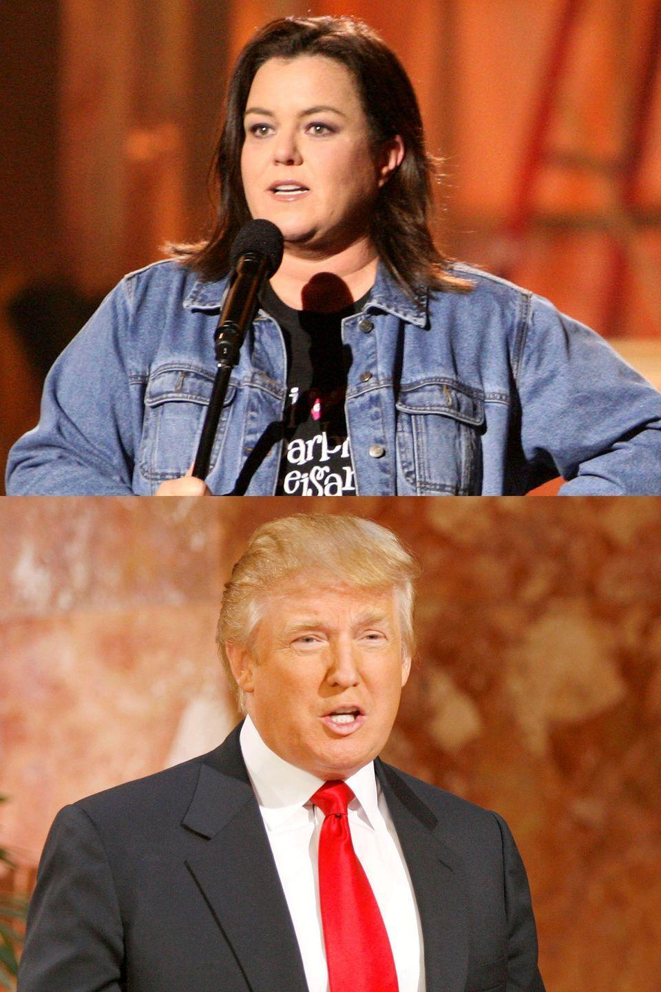 "<p>Once upon a time, Trump and O'Donnell were just a couple of TV hosts with loud opinions. It all started when Trump, then co-owner of the Miss USA pageant, decided not to fire Tara O'Connor, who <a href=""http://www.foxnews.com/story/2006/12/19/trump-decides-not-to-fire-miss-usa-tara-conner.html"" rel=""nofollow noopener"" target=""_blank"" data-ylk=""slk:reportedly failed"" class=""link rapid-noclick-resp"">reportedly failed</a> a drug test. O'Donnell then slammed Trump on <em>The View</em>, calling him a ""snake oil salesman,"" alleging his bankruptcy and slamming his marriages. Trump <a href=""http://people.com/celebrity/rosie-slams-trump-the-donald-fires-back/"" rel=""nofollow noopener"" target=""_blank"" data-ylk=""slk:responded"" class=""link rapid-noclick-resp"">responded</a> by calling O'Donnell a ""real loser"" and saying that he looked ""forward to taking lots of money from my nice fat little Rosie."" When Megyn Kelly, in a 2015 debate, questioned him about calling women names like ""fat pigs,"" <a href=""http://www.cnn.com/2015/08/07/politics/donald-trump-rosie-odonnell-feud/index.html"" rel=""nofollow noopener"" target=""_blank"" data-ylk=""slk:he responded"" class=""link rapid-noclick-resp"">he responded</a> with, ""Only Rosie O'Donnell.""</p>"