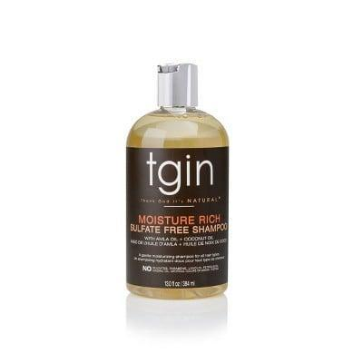<p>The <span>TGIN Moisture Rich Sulfate Free Shampoo For Natural Hair</span> ($15) uses a formula free of sulfates to gently cleanse the hair and remove excess product buildup without over-drying the hair and compromising your curls.</p>