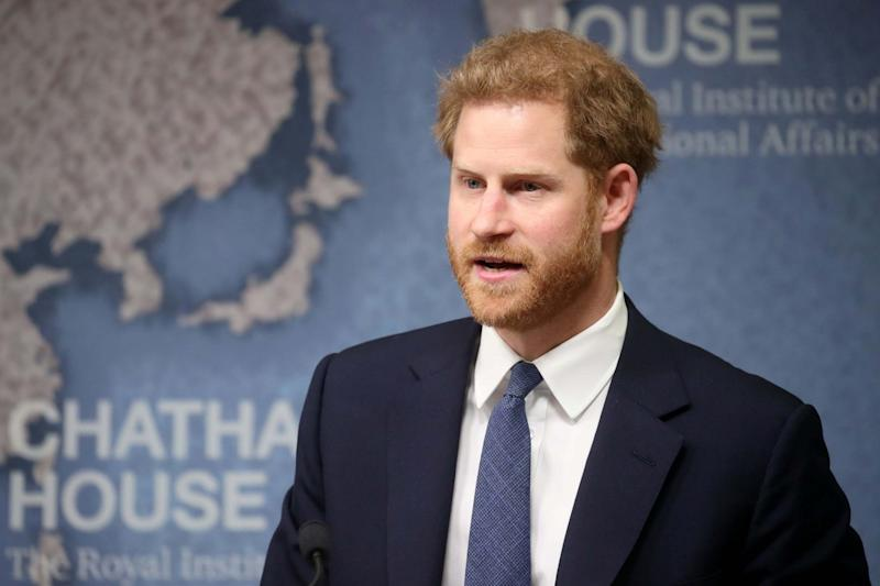 The Duke of Sussex makes a speech during a Chatham House Africa Programme event on mine clearance in Angola (PA)