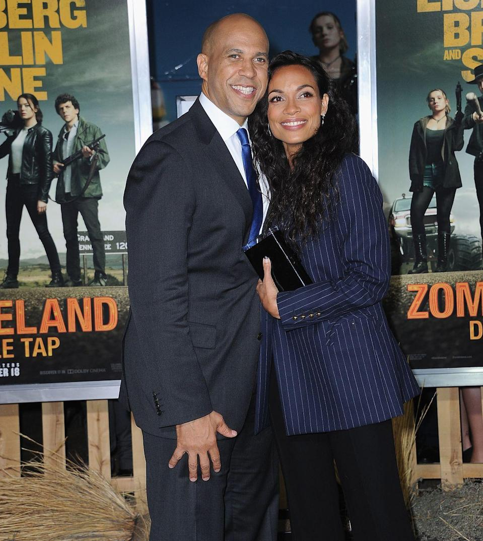 """<p><strong>Age gap: </strong>10 years</p><p>Rosario Dawson and Democratic politician Cory Booker have been dating since late 2018. In an interview Rosario <a href=""""https://www.womenshealthmag.com/life/a30551498/rosario-dawson-workout-diet-mental-health-interview/"""" rel=""""nofollow noopener"""" target=""""_blank"""" data-ylk=""""slk:told"""" class=""""link rapid-noclick-resp"""">told </a><em><a href=""""https://www.womenshealthmag.com/life/a30551498/rosario-dawson-workout-diet-mental-health-interview/"""" rel=""""nofollow noopener"""" target=""""_blank"""" data-ylk=""""slk:Women's Health"""" class=""""link rapid-noclick-resp"""">Women's Health</a> </em>that while the two aren't engaged, """"they have discussed marriage."""" I better get a wedding invite! </p>"""