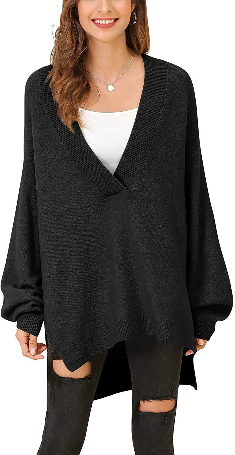 <p>Snuggle up on your couch with this long <span>V-Neck Batwing Sleeve Slouchy Sweater</span> ($30) and a cup of cocoa this fall.</p>