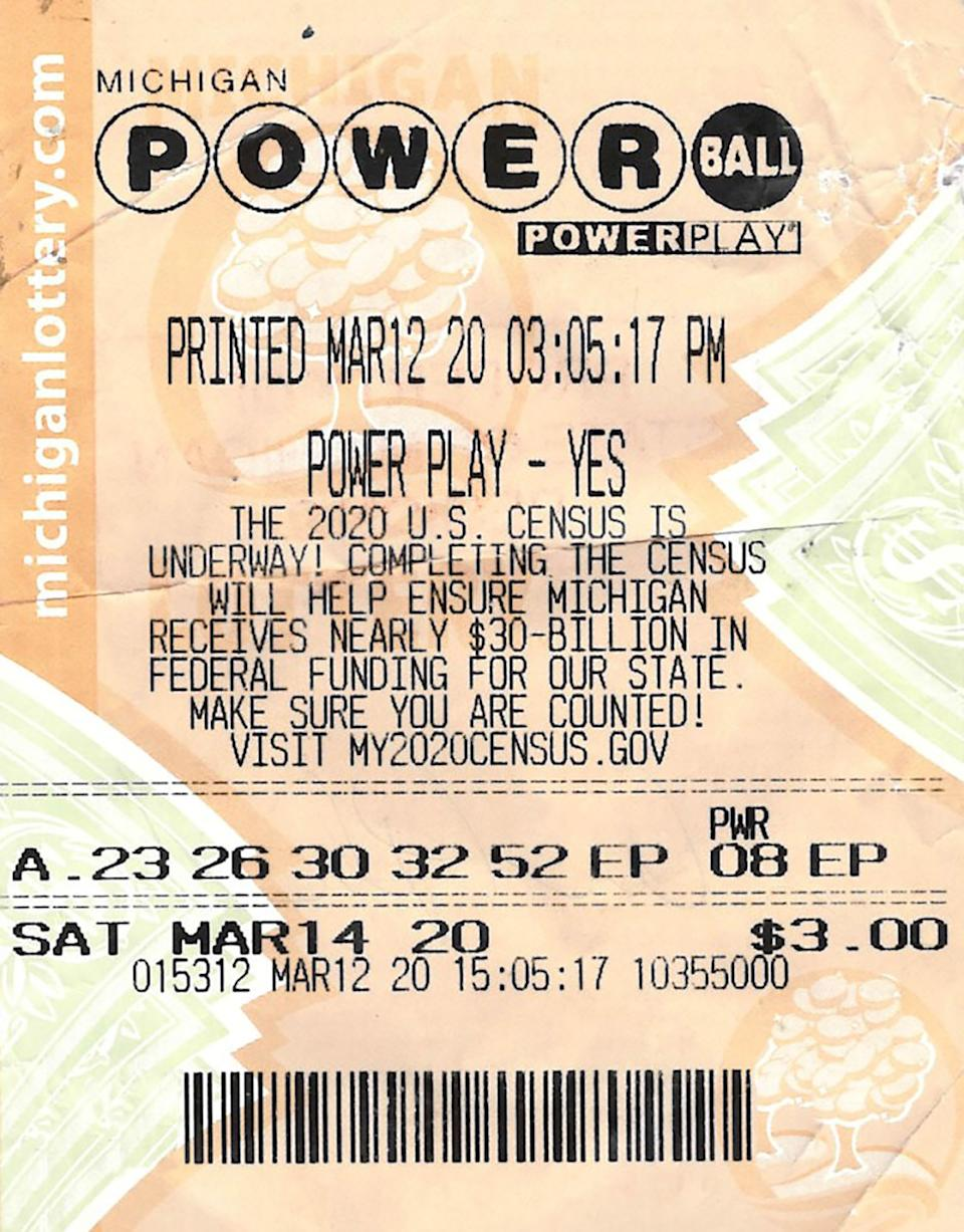 A US Powerball ticket is pictured.