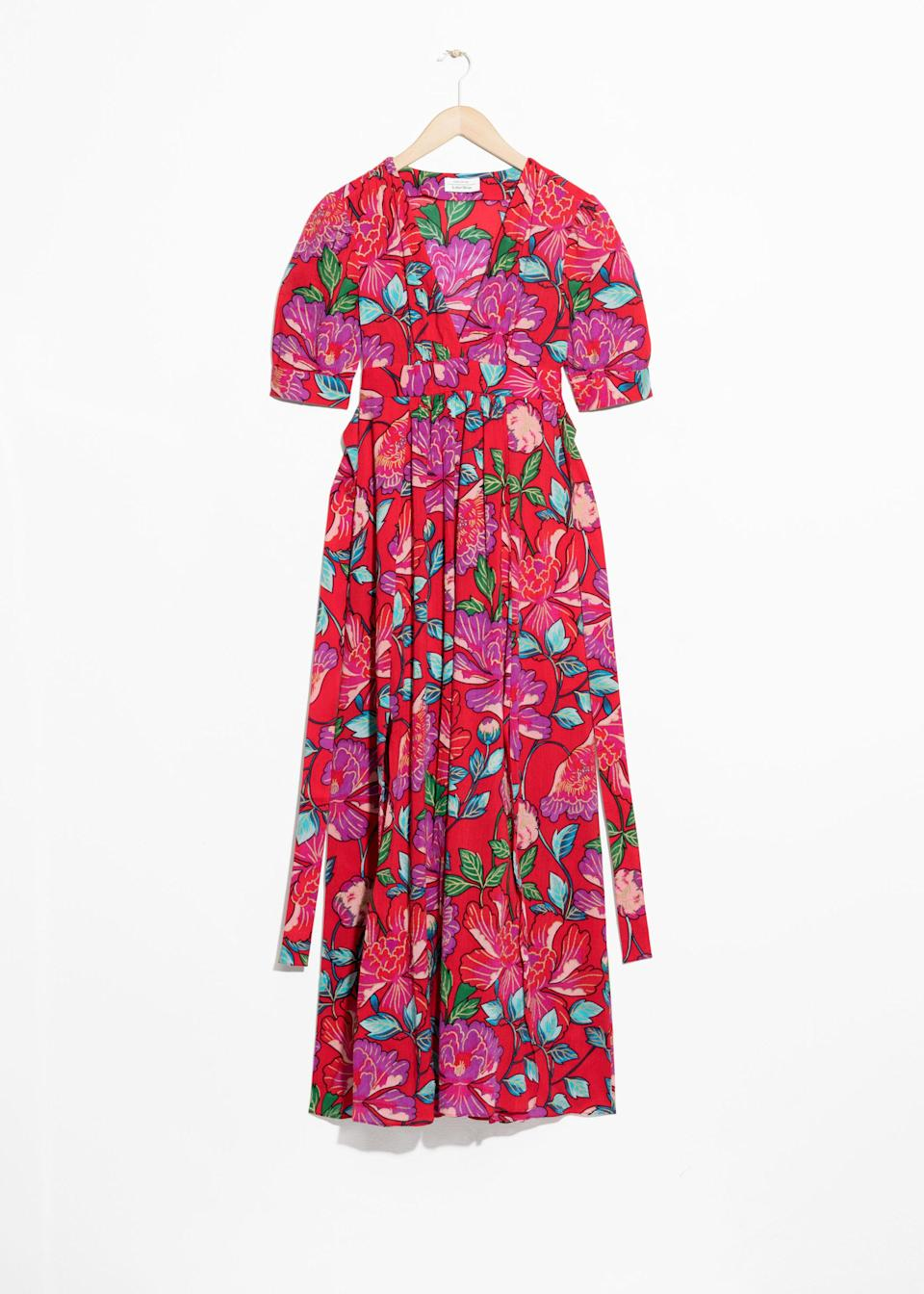 "<p>How fabulous is this designer-looking high street dress? The bold print is sure to make it a hit this summer, and is sure to make you the best dressed at any wedding. <br><em><a href=""https://www.stories.com/en_gbp/clothing/dresses/product.summer-print-dress-red.0493476002.html"" rel=""nofollow noopener"" target=""_blank"" data-ylk=""slk:Buy here."" class=""link rapid-noclick-resp"">Buy here.</a></em> </p>"