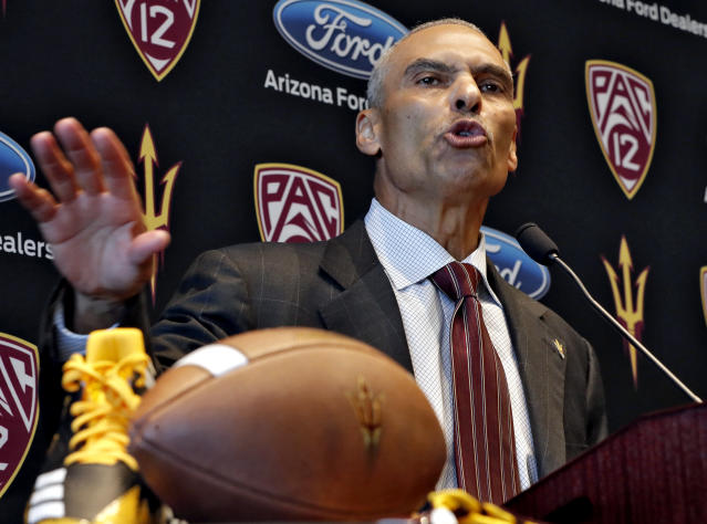 Arizona State hired Herm Edwards as head coach in December. (AP Photo/Matt York)