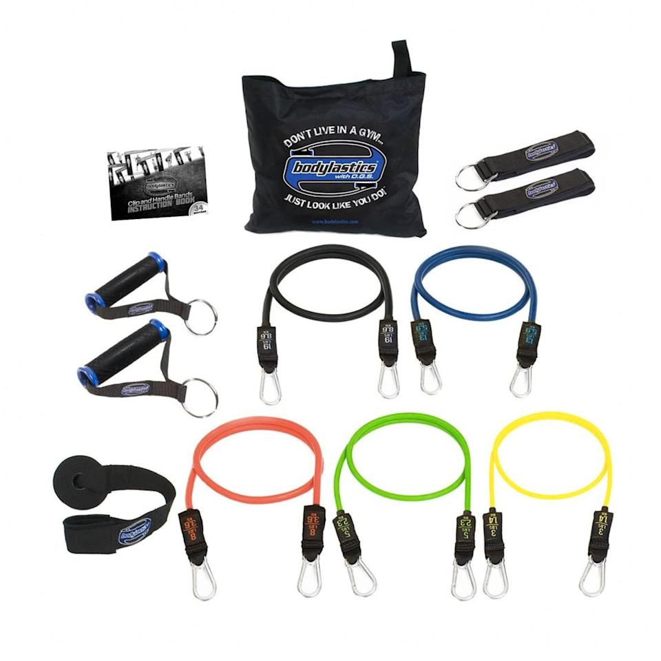 "Talk about endless workout potential. This top-rated kit has everything you could possibly want for strength training—whether you're expanding your repertoire of fitness equipment or just getting started. For $50, you'll get five bands of increasing resistances (and with reinforced rope for extra safety), grippy detachable handles, padded ankle straps, and a door anchor, all neatly housed in a zippered carrying bag. The kit also comes with a detailed instruction manual, including links to free video demos. $50, Amazon. <a href=""https://www.amazon.com/dp/B006NZZH18/"" rel=""nofollow noopener"" target=""_blank"" data-ylk=""slk:Get it now!"" class=""link rapid-noclick-resp"">Get it now!</a>"