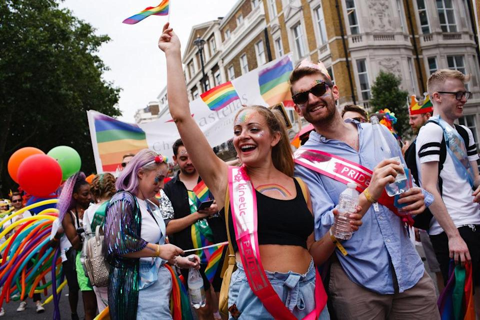 Participants celebrate during the 2019 Pride in London parade.