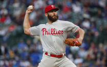 Philadelphia Phillies starting pitcher Jake Arrieta delivers against the Chicago Cubs during the first inning of a baseball game, Monday, May 20, 2019, in Chicago. (AP Photo/Kamil Krzaczynski)