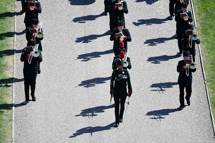 WINDSOR, ENGLAND - APRIL 17: The Band of the Rifles is seen ahead of the funeral of Prince Philip, Duke of Edinburgh at Windsor Castle on April 17, 2021 in Windsor, England. Prince Philip of Greece and Denmark was born 10 June 1921, in Greece. He served in the British Royal Navy and fought in WWII. He married the then Princess Elizabeth on 20 November 1947 and was created Duke of Edinburgh, Earl of Merioneth, and Baron Greenwich by King VI. He served as Prince Consort to Queen Elizabeth II until his death on April 9 2021, months short of his 100th birthday. His funeral takes place today at Windsor Castle with only 30 guests invited due to Coronavirus pandemic restrictions. (Photo by Kirsty O'Connor/WPA Pool/Getty Images)