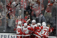 Detroit Red Wings center Dylan Larkin (71) celebrates after scoring the game-tying goal during the third period of an NHL hockey game against the Anaheim Ducks in Anaheim, Calif., Tuesday, Nov. 12, 2019. (AP Photo/Chris Carlson)
