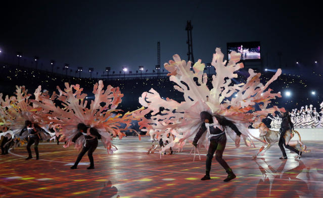 <p>Dancers perform during the opening ceremony of the 2018 Winter Olympics in Pyeongchang, South Korea, Friday, Feb. 9, 2018. (AP Photo/Jae C. Hong) </p>