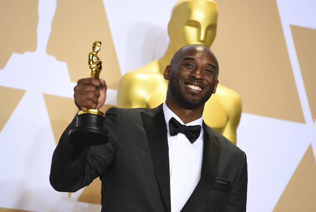 "Kobe Bryant won an Academy Award for the animated short based on his ""Dear Basketball"" retirement letter. (AP)"
