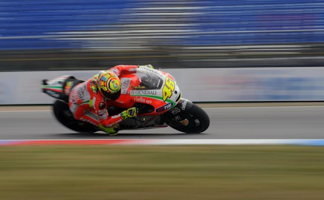 Moto GP rider Valentino Rossi of Italy rides his Ducati during the free practice session at the Czech Republic Grand Prix in Moto GP on August 24, 2012 in Brno ahead of the Grand prix event on August 26. AFP PHOTO/ MICHAL CIZEKMICHAL CIZEK/AFP/GettyImages