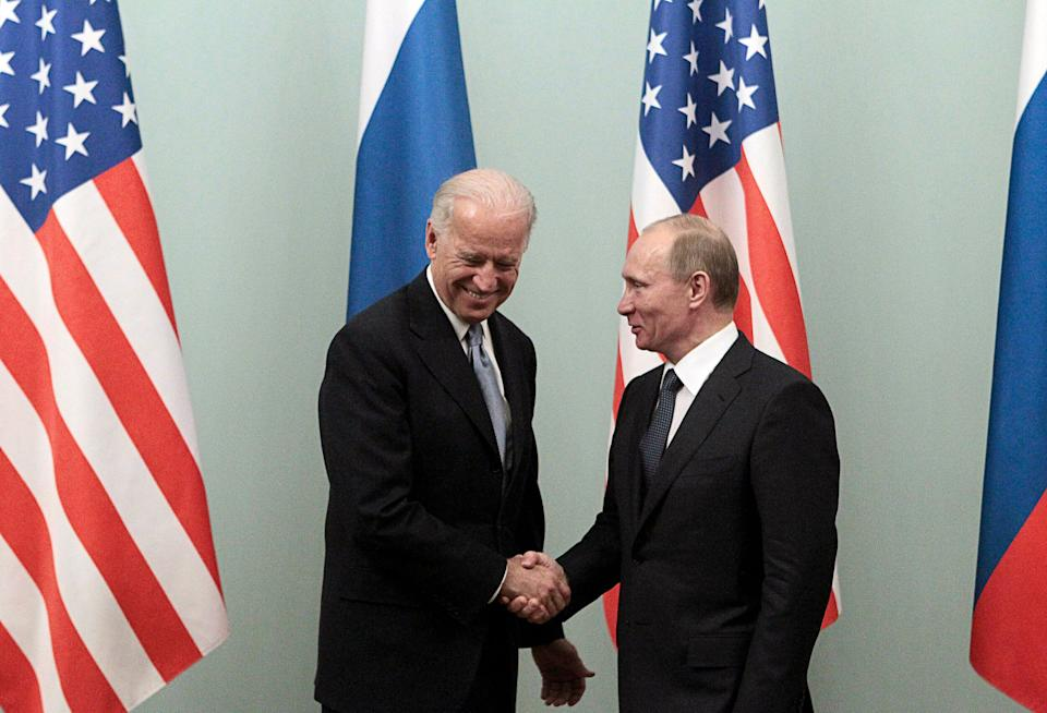 Russian Prime Minister Vladimir Putin (R) shakes hands with U.S. Vice President Joe Biden during their meeting in Moscow March 10, 2011. Biden is on the second day of an official visit, meeting top officials in the Russian capital.  REUTERS/Alexander Natruskin (RUSSIA - Tags: POLITICS) (Photo: Alexander Natruskin / Reuters)