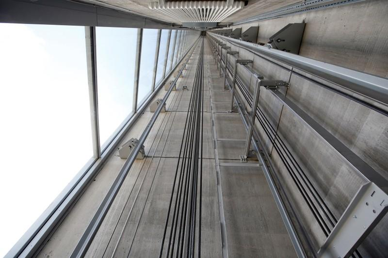 FILE PHOTO: Thyssenkrupp's elevator test tower is pictured in Rottweil