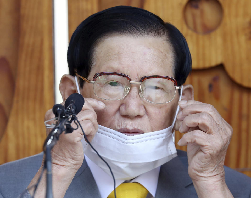 FILE - In this March 2, 2020, file photo, Lee Man-hee, chairman of the Shincheonji Church of Jesus, attends at a press conference in Gapyeong, South Korea. South Korean prosecutors have arrested the elderly leader of a secretive religious sect as part of an investigation into allegations the church hampered the government's anti-coronavirus response after thousands of worshipers were infected in February and March. (Kim Ju-sung/Yonhap via AP, File)
