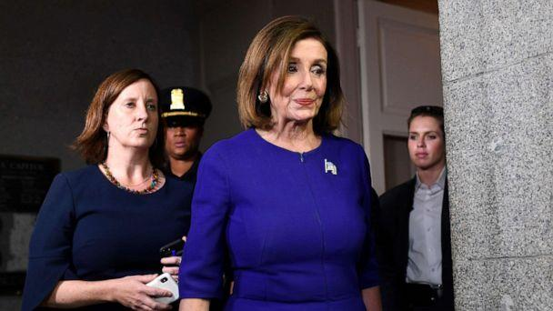 PHOTO: House Speaker Nancy Pelosi of Calif., heads to a meeting with her caucus on Capitol Hill in Washington, Sept. 24, 2019 (Susan Walsh/AP)