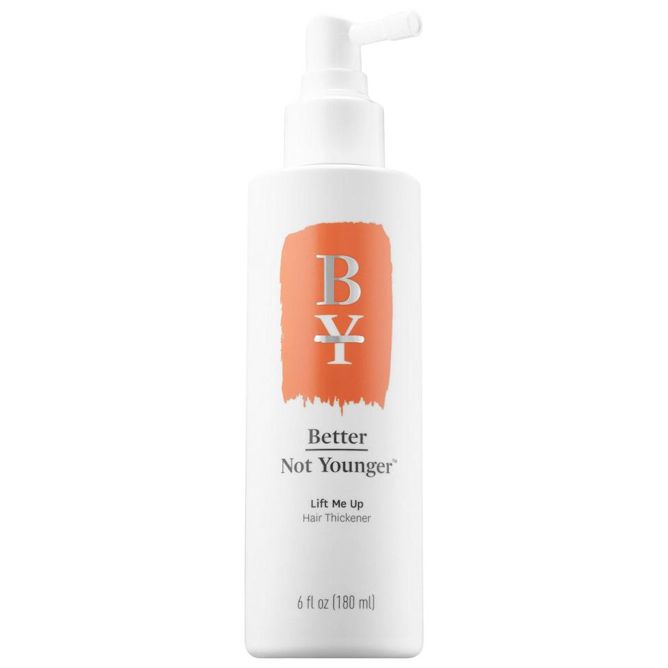 <p>The niacinamide and biotin in the top-rated <span>Better Not Younger Lift Me Up Hair Thickener</span> ($34) support hair follicle function to rebuild keratin for thicker, healthier hair. The spray gel also coats hair with ceramide NG to protect the shaft and lock in moisture so hair looks instantly sleeker.</p>