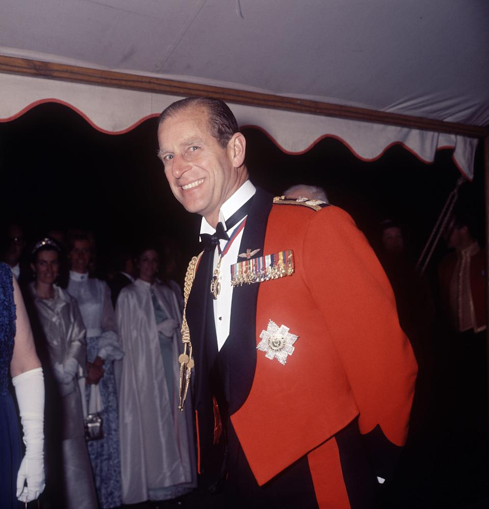 Prince Philip wearing the full evening dress of the Royal Scots Greys Regiment at Ford in Midlothian, 1971Reginald Davis/Shutterstock